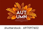 fall sale background design... | Shutterstock . vector #697097602