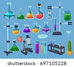 colorful cartoon chemistry ... | Shutterstock .eps vector #697105228
