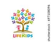 tree kids logo playful template | Shutterstock .eps vector #697108096