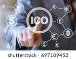 businessman presses currencies... | Shutterstock . vector #697109452