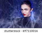 fantasy halloween vampire woman ... | Shutterstock . vector #697110016