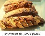 fresh bread slice | Shutterstock . vector #697110388