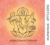 vector illustration for ganesh... | Shutterstock .eps vector #697111042