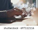 man online shopping on laptop... | Shutterstock . vector #697112116