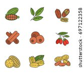 spices color icons set.... | Shutterstock .eps vector #697122358