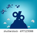 business team jumping into... | Shutterstock .eps vector #697125088
