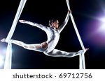 young woman gymnast. on black... | Shutterstock . vector #69712756