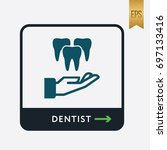 teeth and hand icon. medicine... | Shutterstock .eps vector #697133416