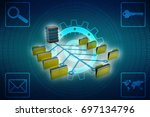 3d illustration of data sharing ... | Shutterstock . vector #697134796