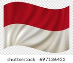 3d waving flag of indonesia.... | Shutterstock .eps vector #697136422