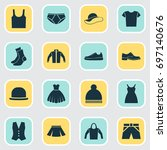 clothes icons set. collection... | Shutterstock .eps vector #697140676