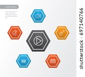 audio outline icons set.... | Shutterstock .eps vector #697140766