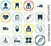 antibiotic icons set.... | Shutterstock .eps vector #697141492