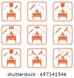 set of brazier cooking  icons.... | Shutterstock .eps vector #697141546