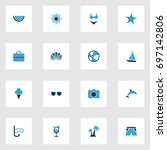 summer colorful icons set.... | Shutterstock .eps vector #697142806
