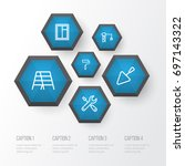 industry outline icons set.... | Shutterstock .eps vector #697143322