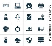 device icons set. collection of ... | Shutterstock .eps vector #697143496