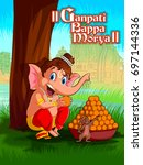 happy ganesh chaturthi festival ... | Shutterstock .eps vector #697144336