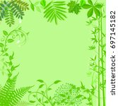 background with green plants... | Shutterstock . vector #697145182