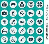 antibiotic icons set....   Shutterstock .eps vector #697146412