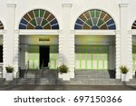architectural detail of white... | Shutterstock . vector #697150366