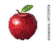 Red apple with pixel art style | Shutterstock vector #697155916