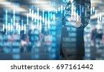 businessman hand touch virtual... | Shutterstock . vector #697161442
