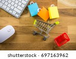 model shopping bag  basket and... | Shutterstock . vector #697163962