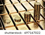 bitcoin piles on rows of gold... | Shutterstock . vector #697167022