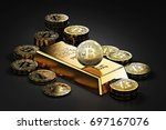 big stack of bitcoins and gold... | Shutterstock . vector #697167076