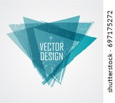 blue triangle retro shape.... | Shutterstock .eps vector #697175272