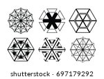 vector hipster hexagon... | Shutterstock .eps vector #697179292