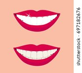 beautiful smiling mouth with...   Shutterstock .eps vector #697182676