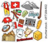 switzerland travel scrapbook...   Shutterstock .eps vector #697186402