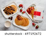 paper plates with american... | Shutterstock . vector #697192672