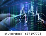 stock market graph analysis for ... | Shutterstock . vector #697197775