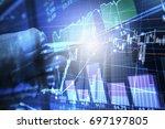 stock market graph analysis for ... | Shutterstock . vector #697197805