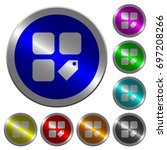 tag component icons on round... | Shutterstock .eps vector #697208266