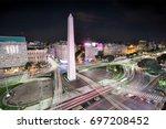 the obelisk of buenos aires ... | Shutterstock . vector #697208452