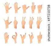 vector set of hands in... | Shutterstock .eps vector #697210738