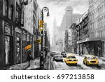 oil painting on canvas  street... | Shutterstock . vector #697213858