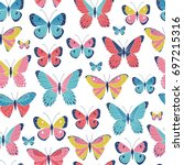 Stock vector vector seamless pattern with butterflies 697215316