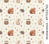 illustrations of cute animals.... | Shutterstock . vector #697222762
