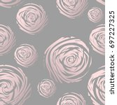 gold abstract roses on grey.... | Shutterstock .eps vector #697227325