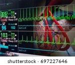 heart and vital sign ekg...   Shutterstock . vector #697227646