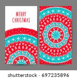 christmas and new year greeting ... | Shutterstock .eps vector #697235896