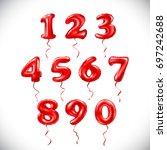 vector red number 1  2  3  4  5 ... | Shutterstock .eps vector #697242688
