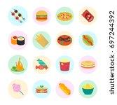 set vector illustration of fast ... | Shutterstock .eps vector #697244392