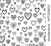 set of doodles of hearts.... | Shutterstock .eps vector #697250815