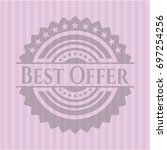best offer badge with pink... | Shutterstock .eps vector #697254256
